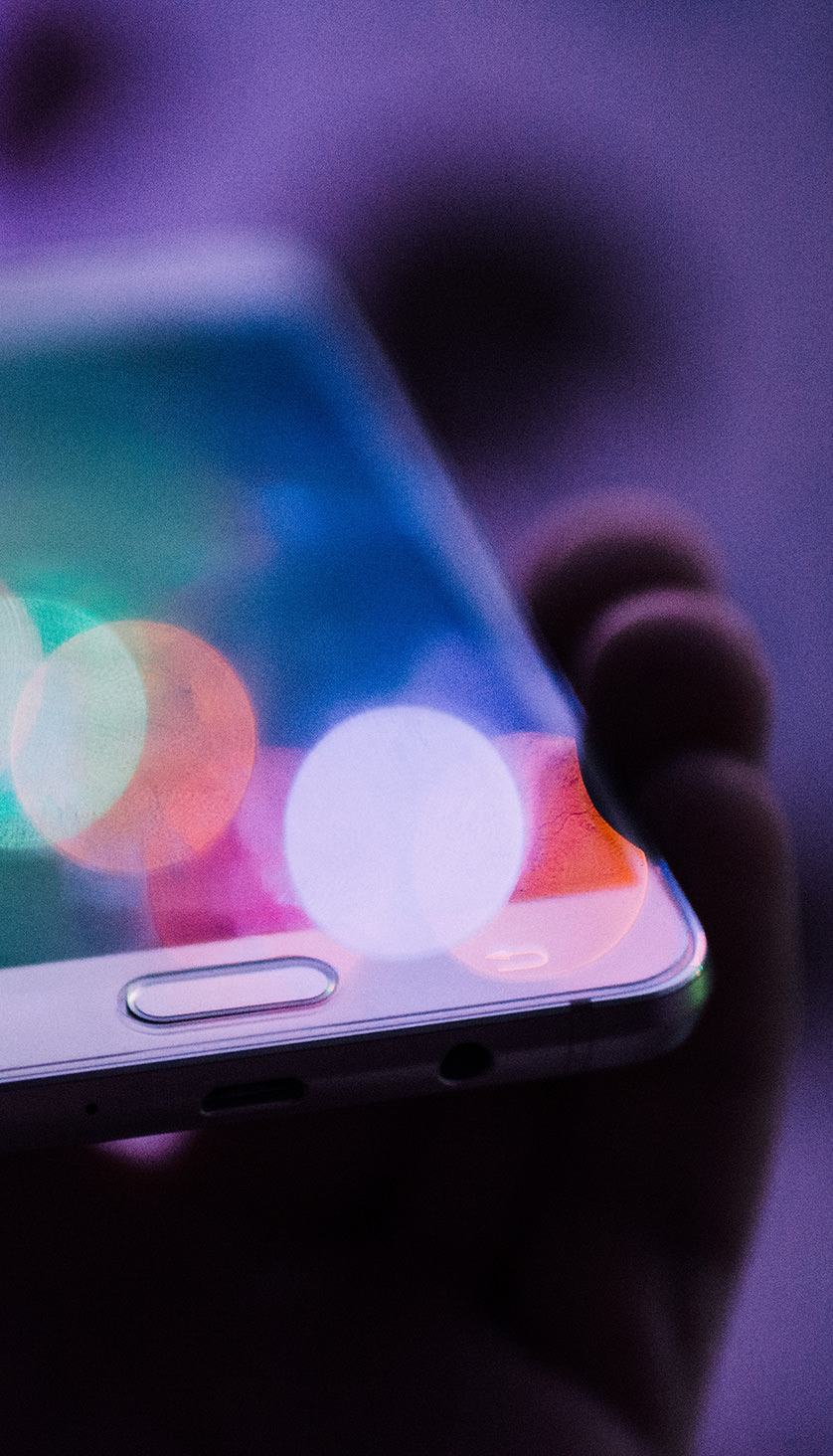 A close up artistic image of a mobile phone