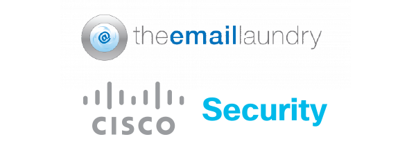 A graphic showing the email laundry and cisco security logos